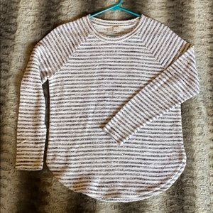 Dark Grey and white striped knit long sleeve shirt